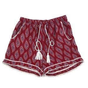 Japna Red White Paisley Tasseled Festival Shorts